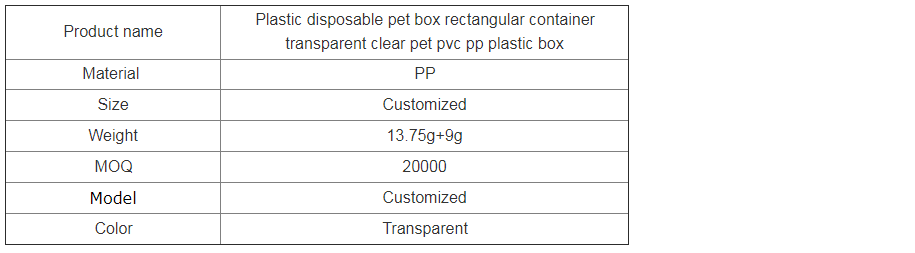 wholesale rectangular disposable plastic food container
