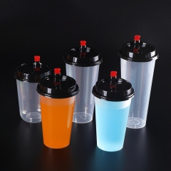 Promotional Microwave 500ml 16oz clear disposable plastic pp injection milk tea beverage coffee juice cups with lids
