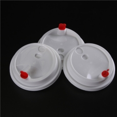 Customized PLA Compostbale disposable paper coffee mug cup press Lids white black color 80mm 90mm