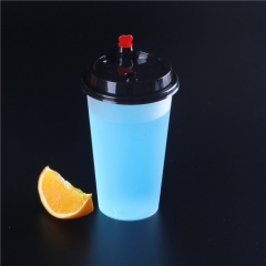 Wholesale eco-friendly custom printed reusable PLA plastic coffee milk tea juice drinking cup with lid