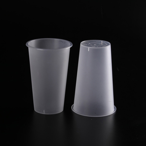 China hotsale PP 24oz 700ml disposable transparent printing customized logo coffee juice tea plastic cups with lids
