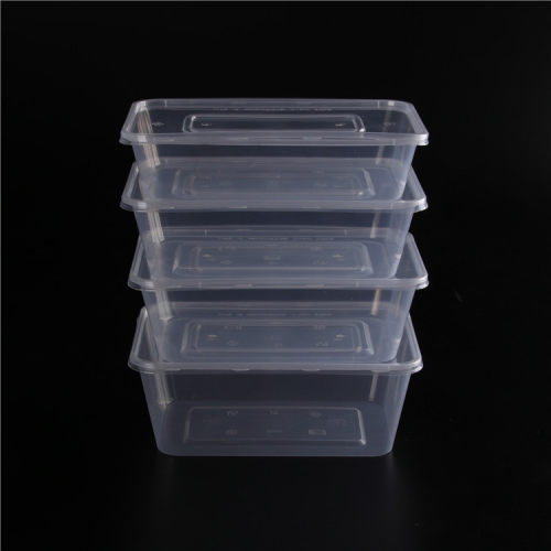 Compartments Rectangular Household Plastic Food Storage Container Take Away PP Lunch Box 1000ml