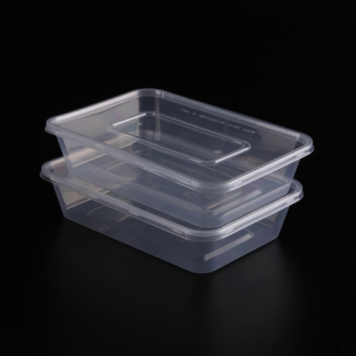 High Quality 500ML, 650ML, 750ML, 1000ML Microwaveable / Reusable / Recyclable PP Thin Wall Rectangular Container (With Lid)