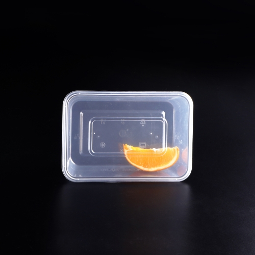 Large clear rectangular plastic storage container and lid