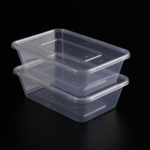 500ml High Transparent Rectangular Frozen Safe Disposable Plastic PP Food Containers