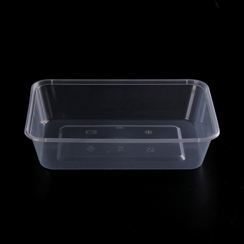 Hongda 500ml disposable microwave clear pp plastic rectangular food container with lid